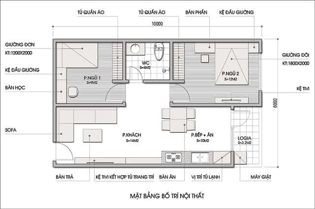 Mặt bằng bố trí nội thất chung cư