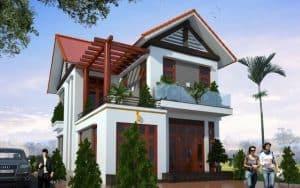 Bản vẽ thiết kế biệt thự 2 tầng 100m2 phong cách mái Thái